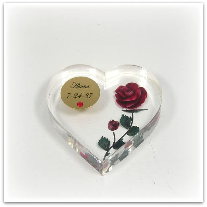 Heart Shaped Personalized Acrylic Paperweight