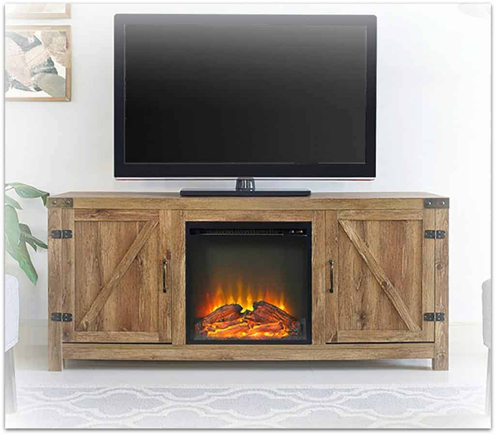 barn door fireplace tv stand