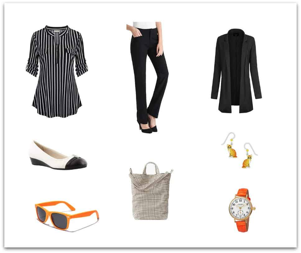 Cats, Sunglasses and a pop of Orange in this cute outfit for women