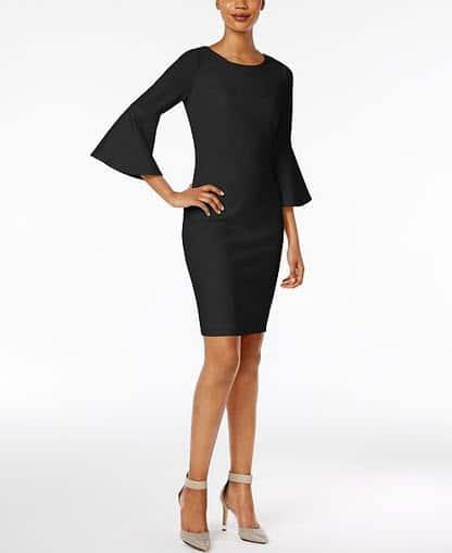 calvin klein bell sleeve little black dress