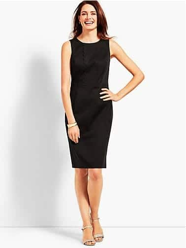 textured sateen sheath dress