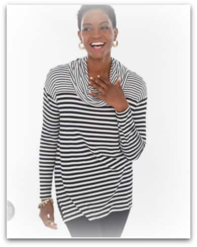 mixed stripe tunic from Chicos