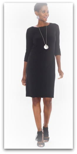 Ruche Sleeved Black Dress Chicos