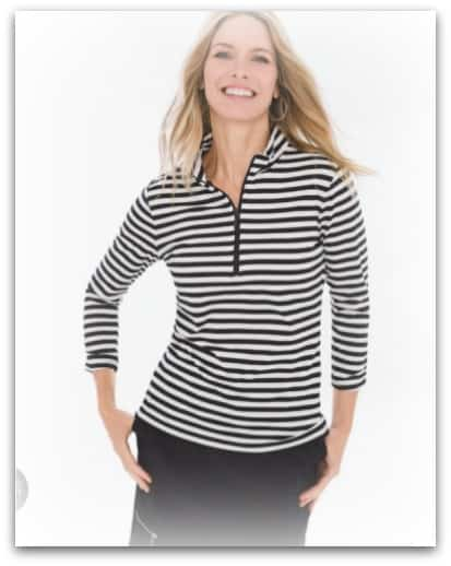 striped half zip top from Chicos