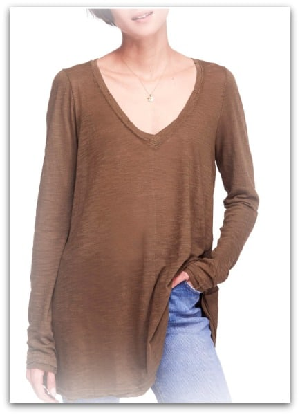 flowing ribbed long sleeved tee