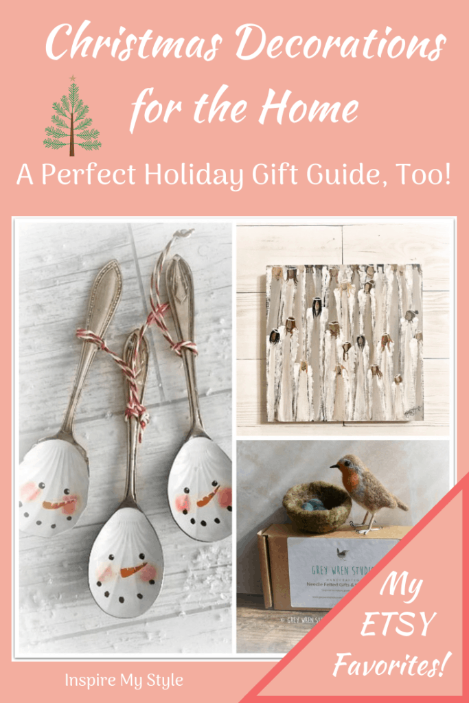 Christmas Decorations for the Home. My favorite curated picks from Etsy, with home decor for the table, centerpieces, vintage, rustic and more. Perfect for your Farmhouse, Rustic, Country or Casual style home. And a great Holiday Gift Guide, too!
