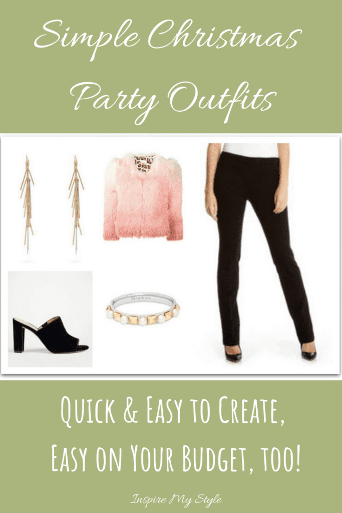 Simple Christmas Party Outfits that are easy and quick to put together. Work with what you have and add the sparkle and shine! #Christmaspartyoutfits #womensfashion #fashionover50 #simpleholidyoutfits #accessories #jewelry #giftideas #partyoutfits