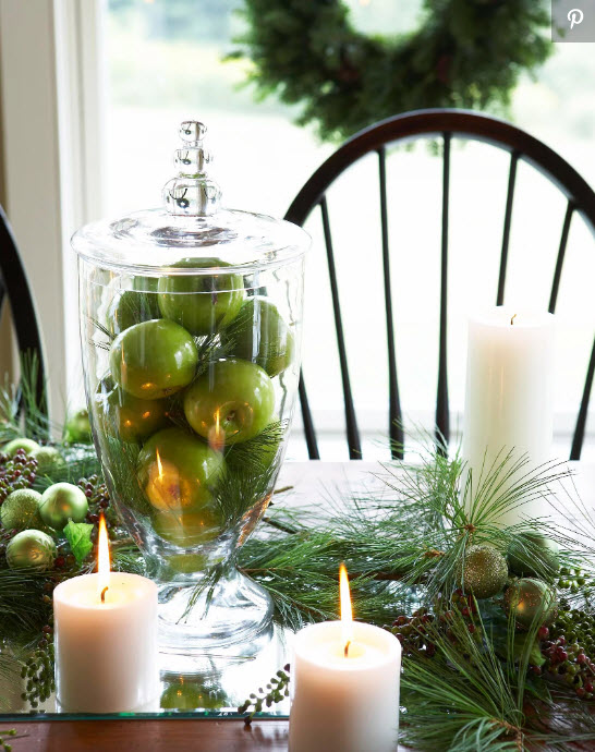 DIY holiday decor using green apples, jars and candles from MidwestLiving.com