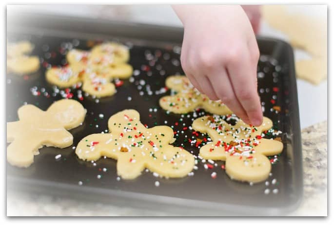 baking cookies to entertain the grand kids when they visit