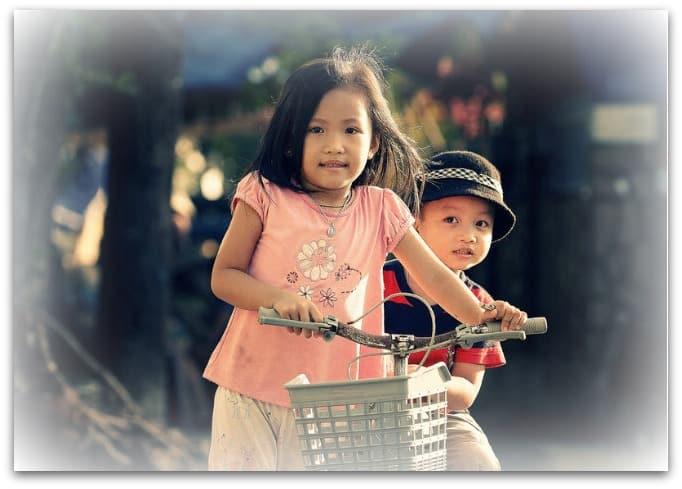 Grand kids riding bikes