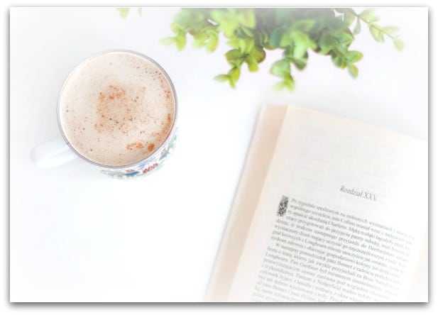 latte with open book and greenery
