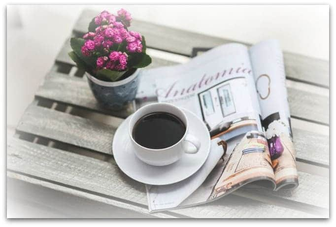 morning coffee with flowers and magazine - Inspire My Style