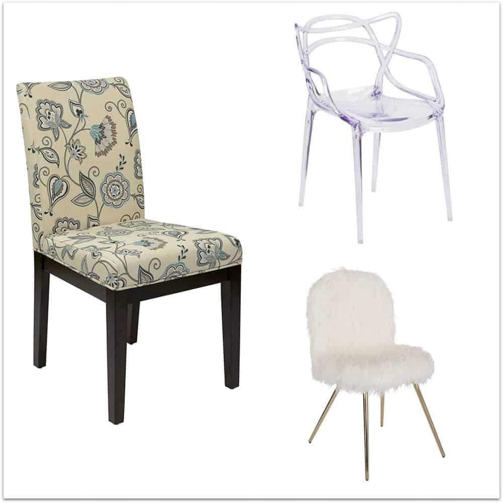 Accent chairs for a small writing desk