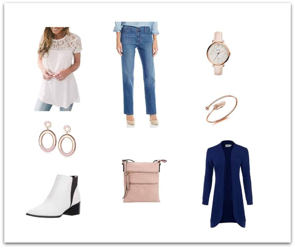 Casual style outfit with jeans and accessories for women