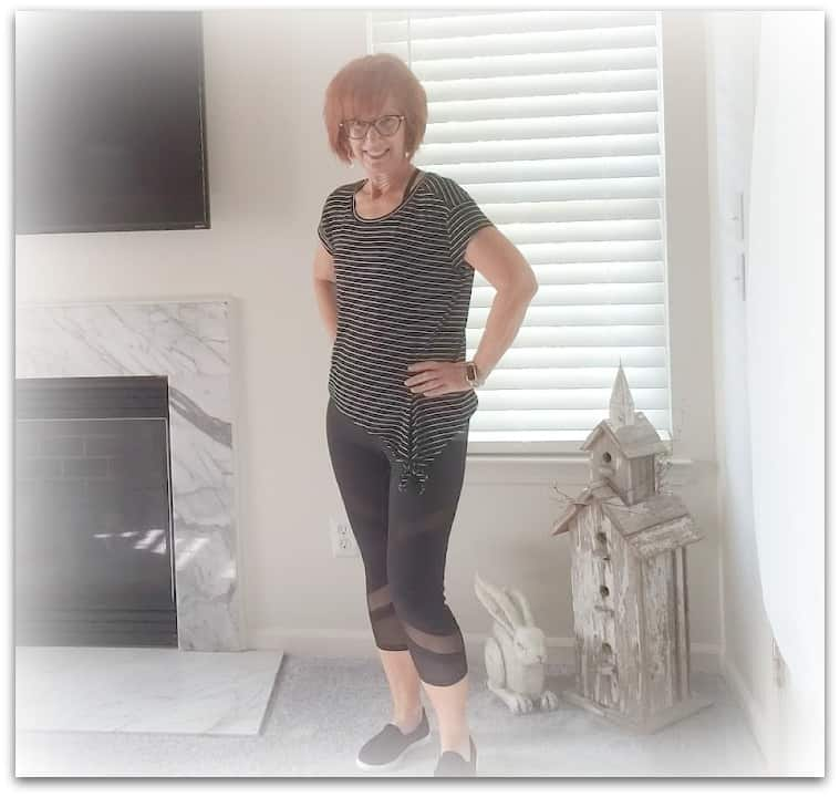 Flattering workout clothes for 60 year-old woman