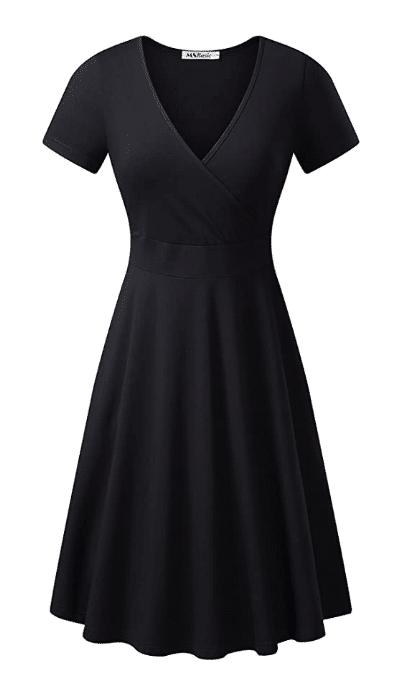 V-neck flared midi dress