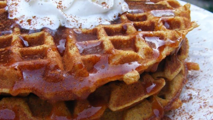more holiday brunch ideas: pumpkin waffles with apple cider syrup from allrecipes.com