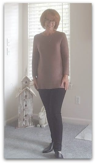 Simple neutral outfit for a woman over 60