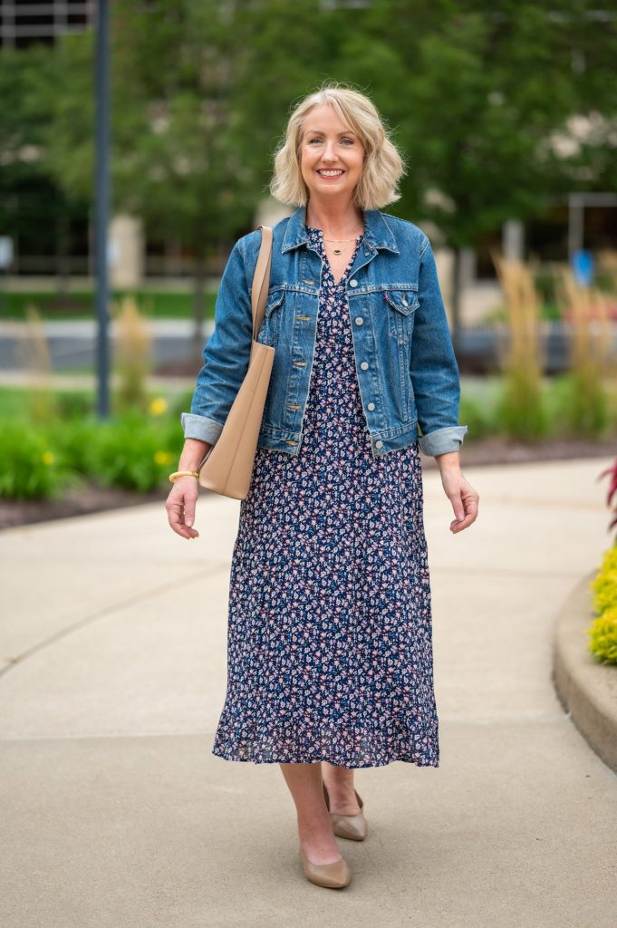 top a light fabric dress with a jacket to transition to fall