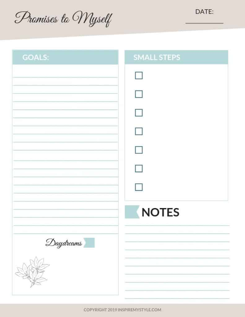 Self care for Women over 50 - planning worksheet