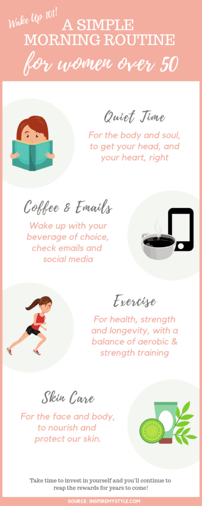 A simple morning routine for women - infographic
