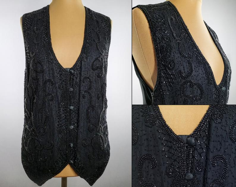 vintage art deco beaded vest from etsy
