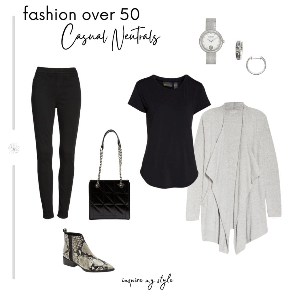 black and gray casual  neutral outfit for women over 50