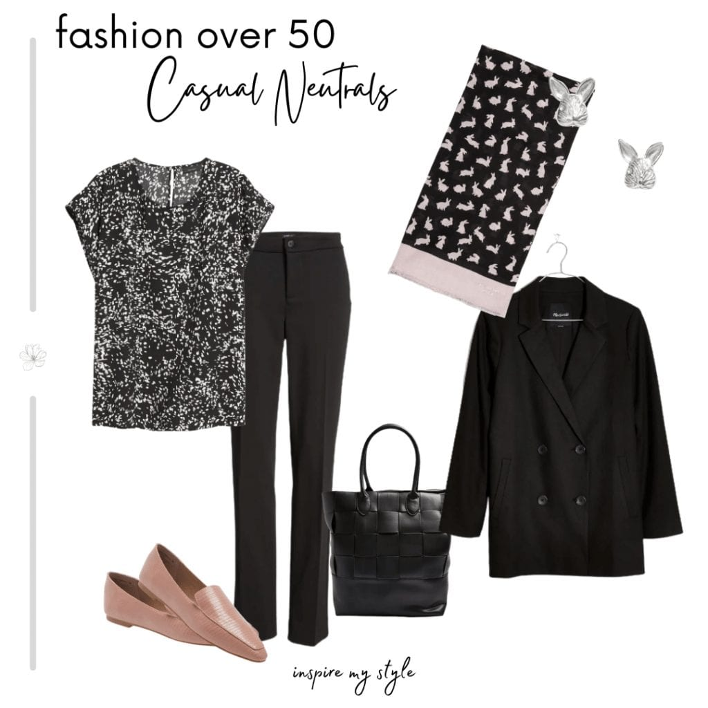 how to wear neutral colors - casual outfit for women over 60