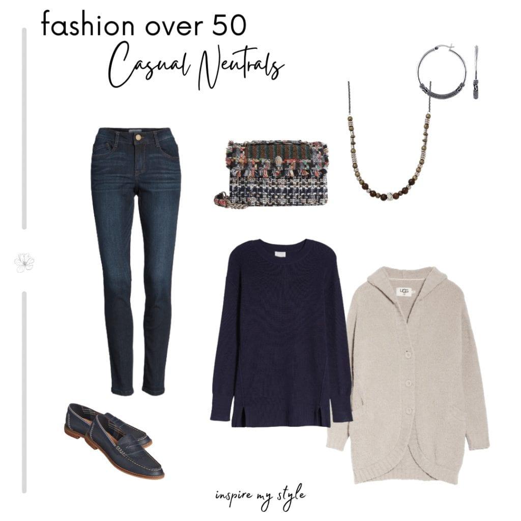 how to wear neutrals with denim