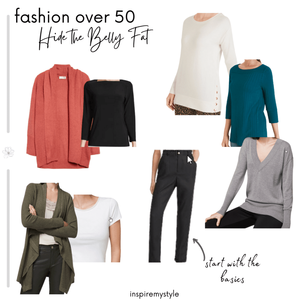 stylish clothes for women over 60 to hide belly fat