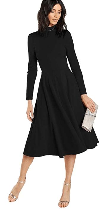 slimming little black dress for women over 50