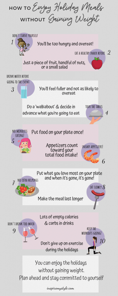 How to enjoy holiday meals without gaining weight infographic