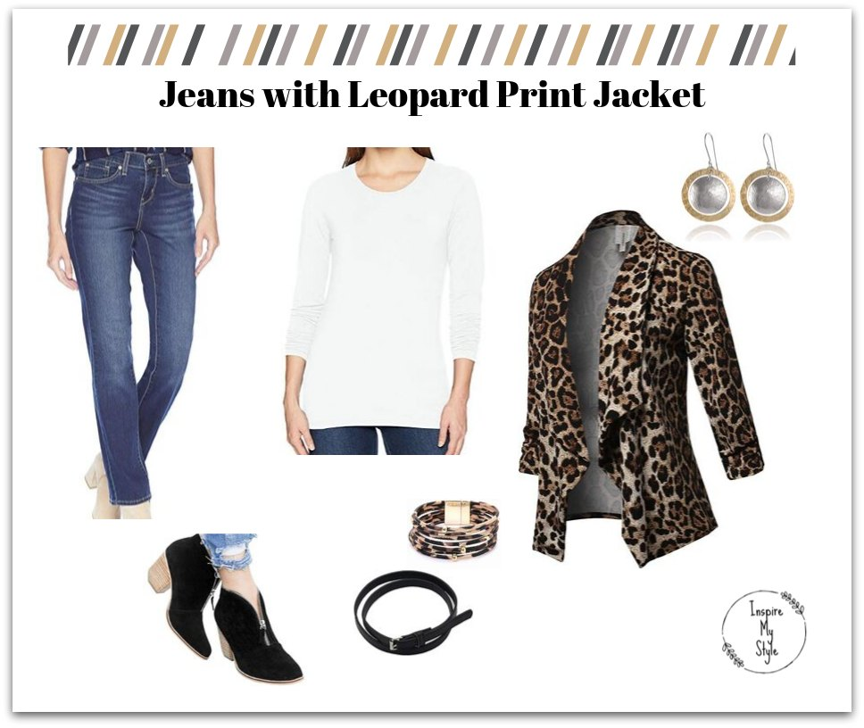 Jeans with leopard print jacket, a cute casual winter outfit for women over 60