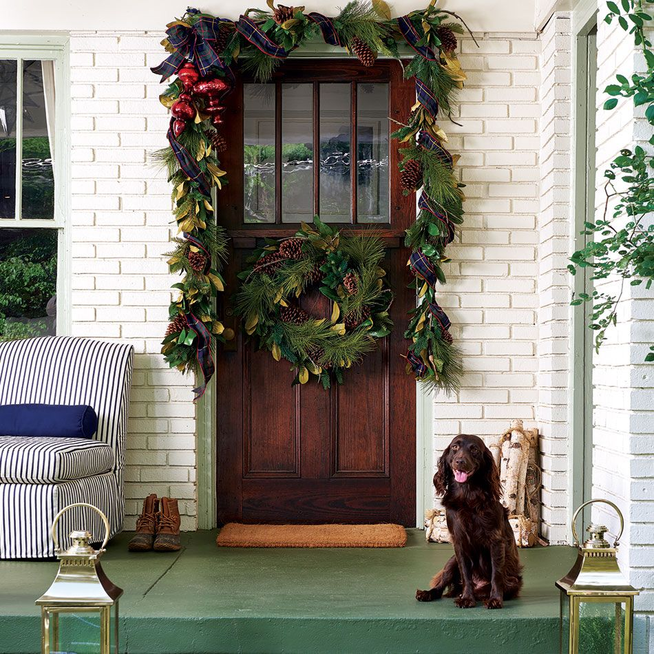 Christmas front porch decoration ideas from Ballard Designs