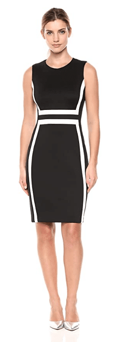 sleeveless color block  black dress from Amazon