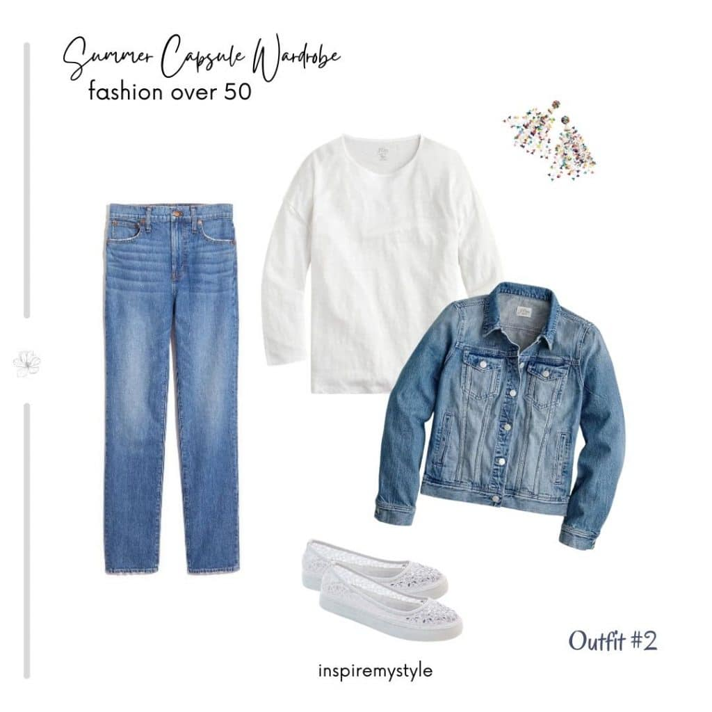 casual denim summer capsule wardrobe outfit