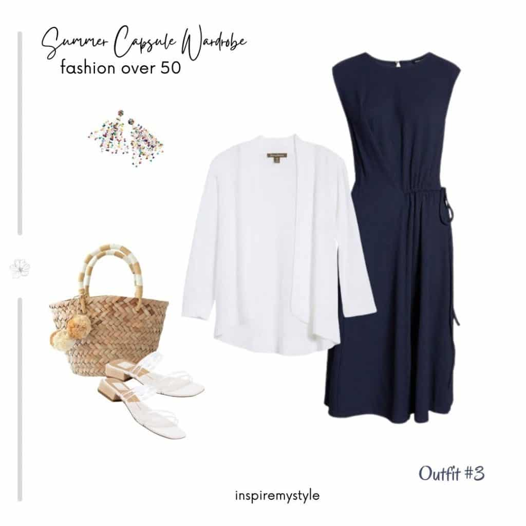 summer outfit for a capsule wardrobe including a dress