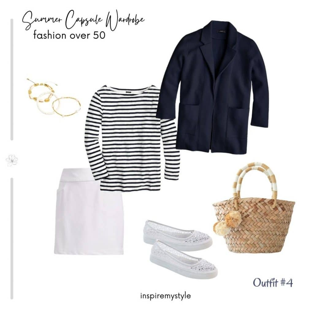 navy and white summer outfit for women over 50