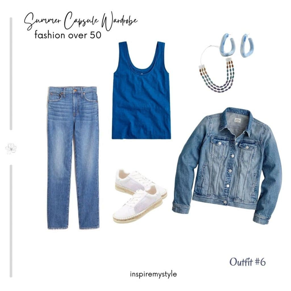casual outfit with denim for women over 50