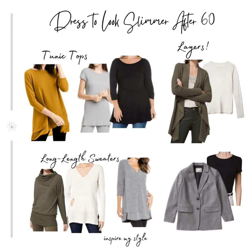 tunic tops, sweaters, and layers to dress slimmer after 60