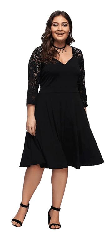 V-neck plus size lace sleeve dress from Amazon